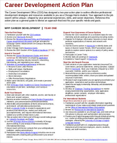 Career Action Plan for Development for Business Action Plan