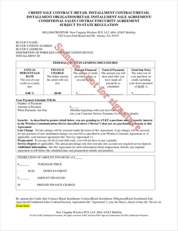 Cellular Conditional Sale Agreement for Conditional Sale Agreement Samples And Templates