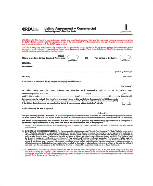 Commercial Business Listing Agreement for Business Listing Agreement