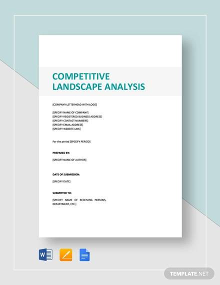 Competitive Landscape Analysis Template for sample competitive analysis