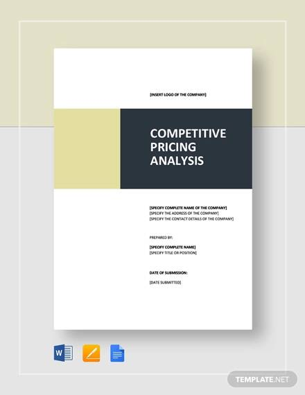 Competitive Pricing Analysis Template for sample competitive analysis