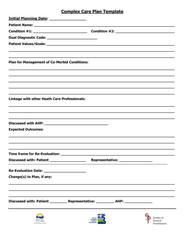 Complex Care Plan Template for Patient Care Plan Template Pdf Word