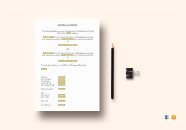 Conditional Sale Agreement Template for Conditional Sale Agreement Samples And Templates