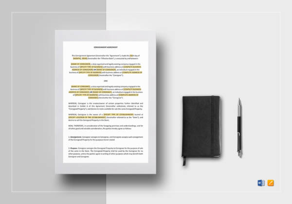 Consignment Agreement Template for Consignment Agreement Examples And Templates