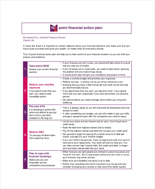 Economic Financial Action Plan for Action Plans