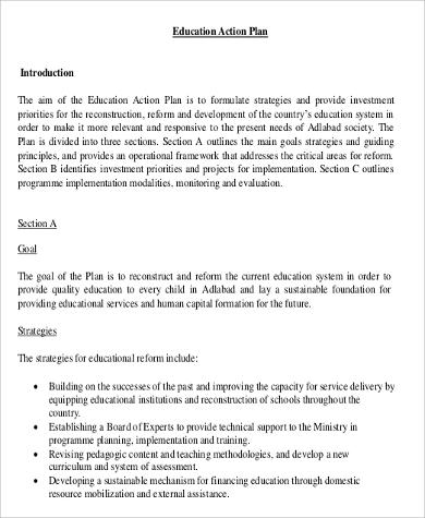 Education Action Plan Example for Action Plan In Pdf