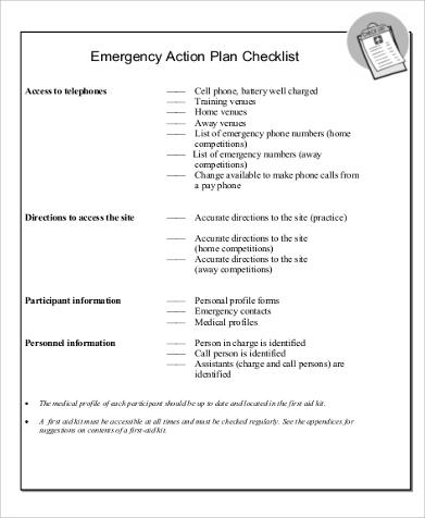 Emergency Action Checklist Plan for Action Plan In Pdf