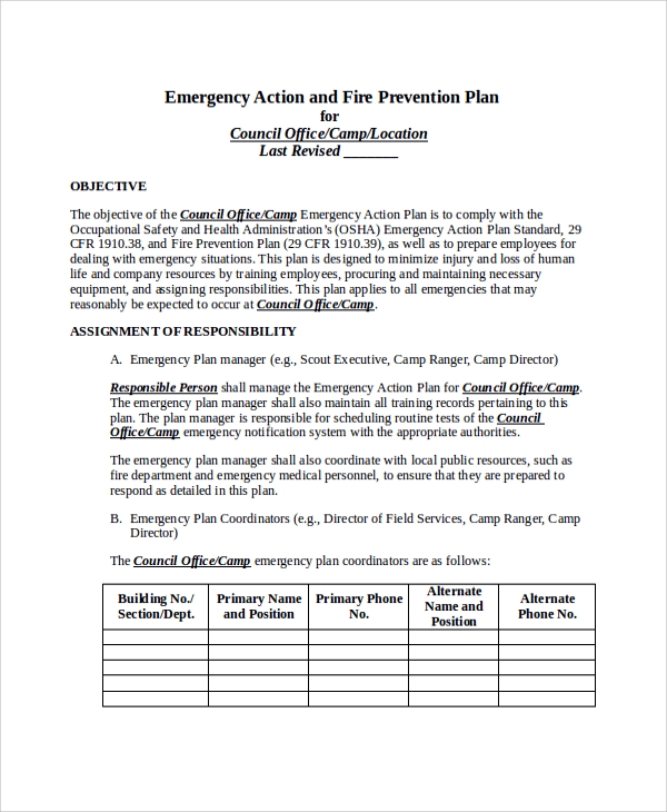 Emergency Action and Fire Prevention Plan for Action Plans