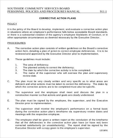 Employee Corrective Action Plan for Action Plan Format
