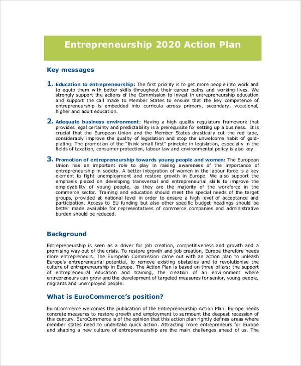 Entrepreneurship Action Plan for Action Plans