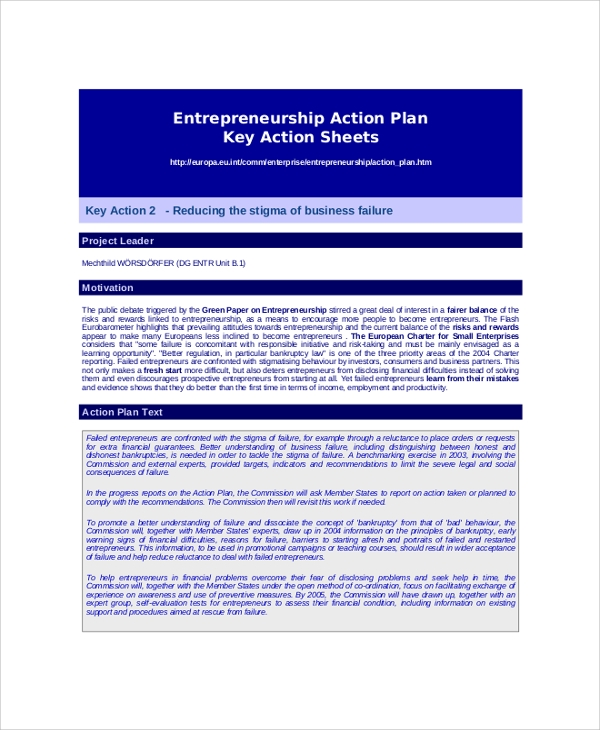 Entrepreneurship Action Plan Key Action Sheet for Action Plans