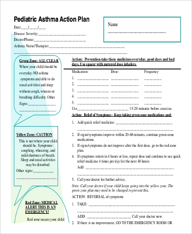 Example Pediatric Asthma Action Plan for Sample Asthma Action Plan
