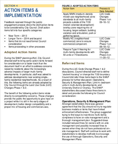 Example Student Housing Action Plan for Business Action Plan