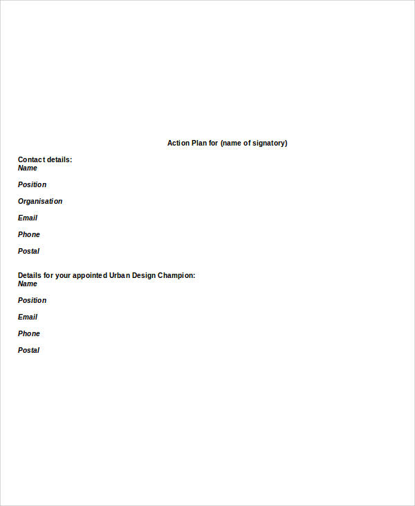 Final Action Plan Report Format for Action Plan Format
