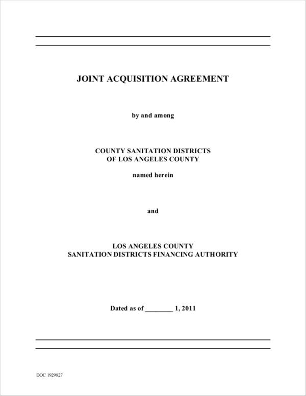 Joint Acquisition Agreement for Acquisition Agreement Samples