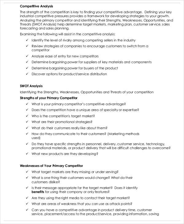 Marketing Competitive Analysis for sample competitive analysis