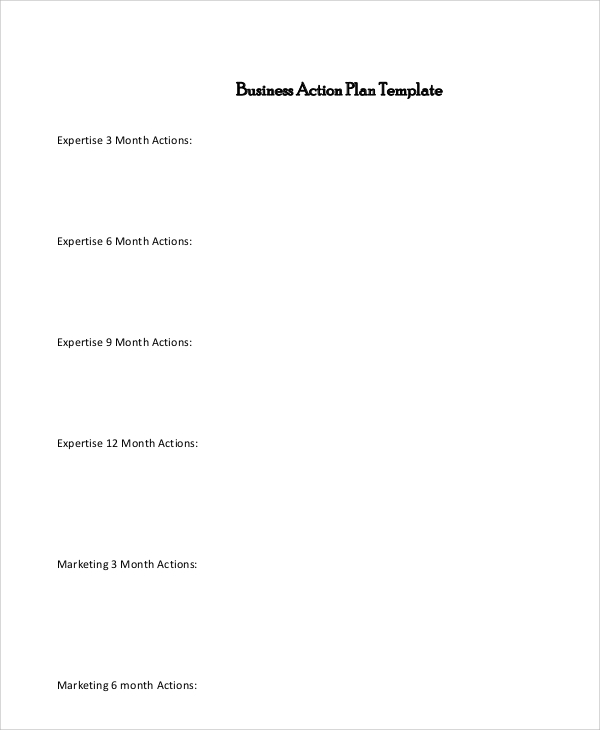 New Business Action Plan for Example Of Action Plan