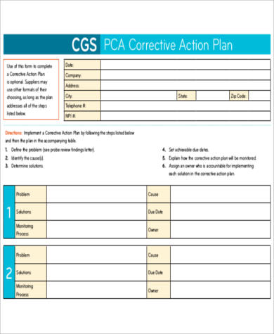 PCA Corrective Action Plan for Action Plan In Pdf
