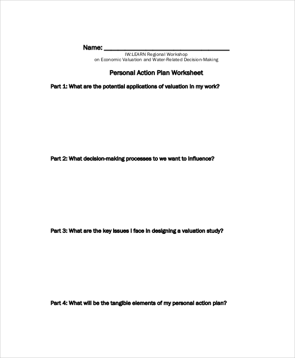Personal Action Plan Worksheet for Action Plans