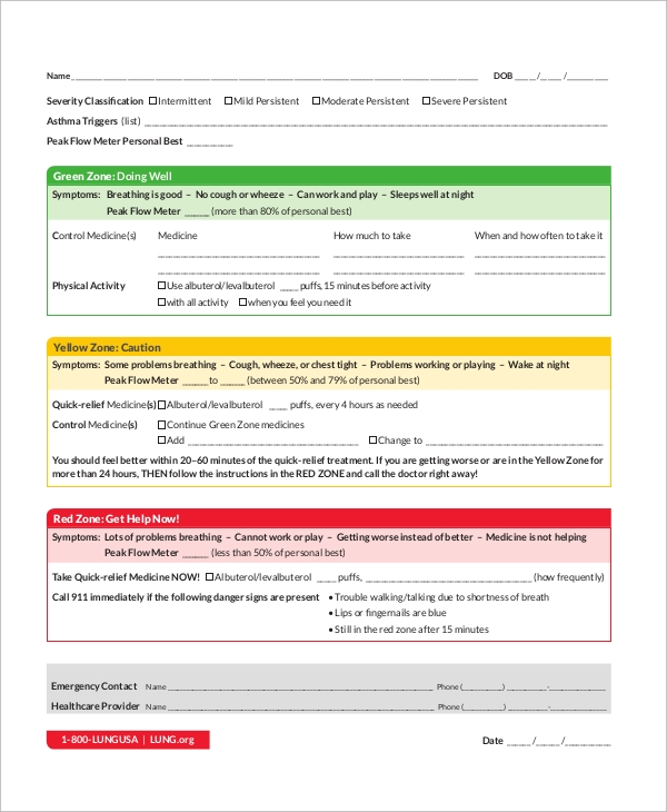Printable Asthma Action Plan for Asthma Action Plan