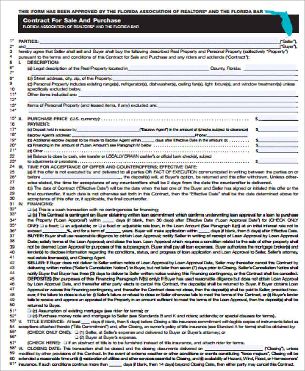 Purchase And Sales Agreement Contract For Purchase Agreement Contract