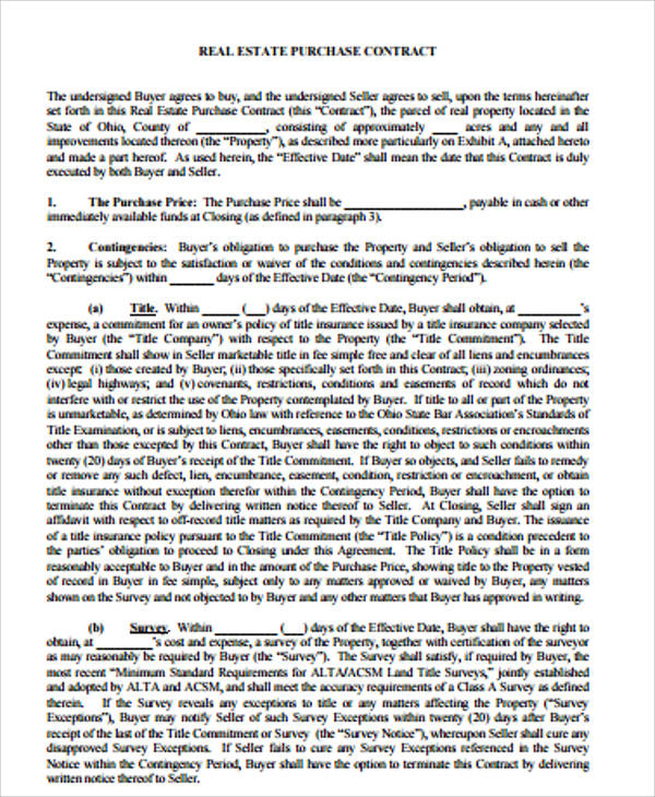 Real Estate Purchase Agreement Contract For Purchase Agreement Contract