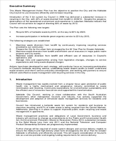 Research Action Plan Waste Management for Business Action Plan