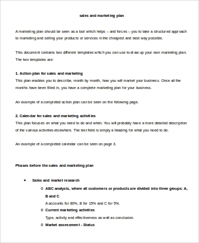 Sales and Marketing Action Plan for Sample Marketing Action Plan
