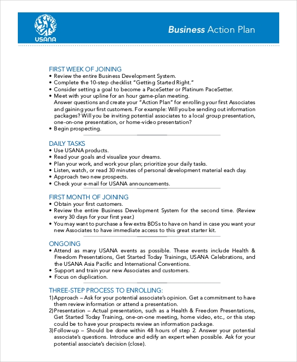 Sample Business Action Plan for Example Of Action Plan