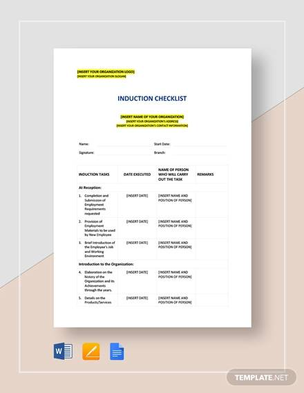 Sample Induction Checklist Template for Induction Checklist Sample Pdf Word