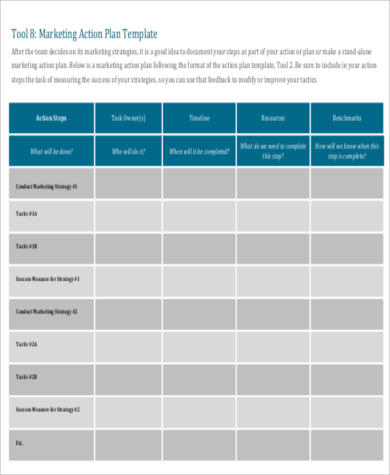 Sample Marketing Action Plan for Business Action Plan