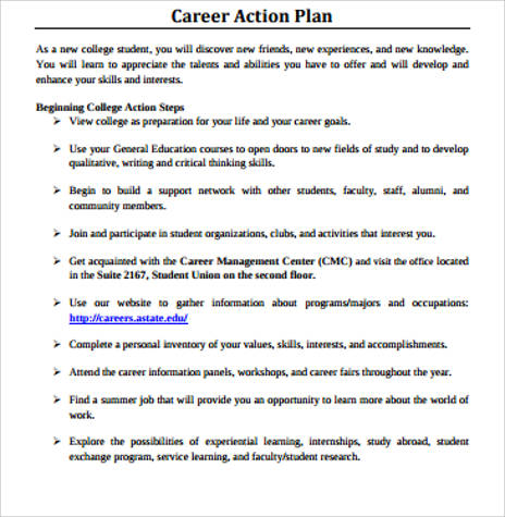 Sample Professional Career Action Plan for Sample Career Action Plan