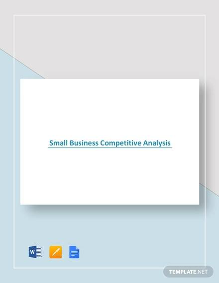 Sample Small Business Competitive Analysis for sample competitive analysis