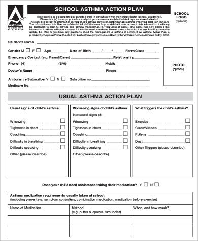 School Asthma Action Plan Example for Action Plan Format