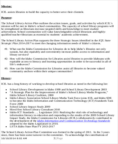 School Library Action Plan Example for Sample School Action Plan