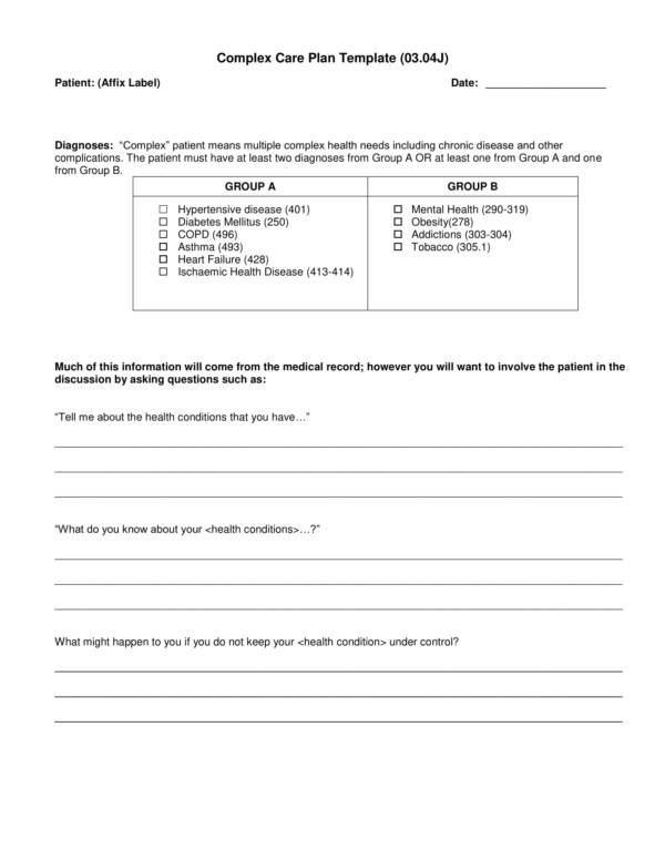 Self Management and Complex Care Planning Template for Patient Care Plan Template Pdf Word