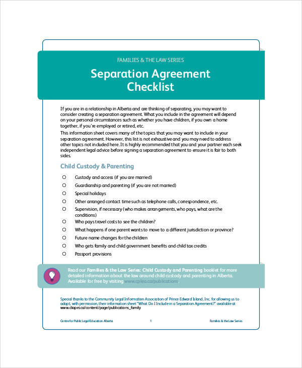 Separation Agreement Form Checklist For Separation Agreement Templates