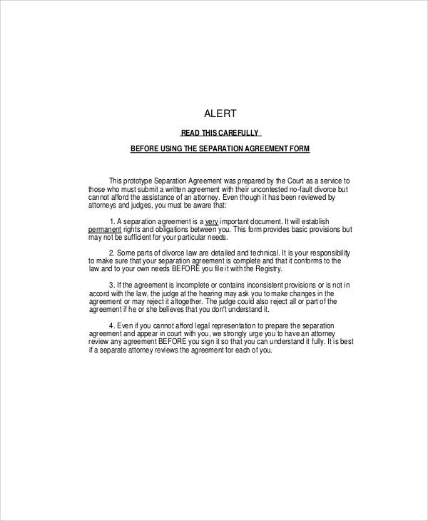 Separation Agreement Form Sample for Separation Agreement Templates