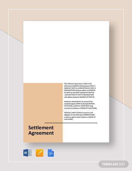 Settlement Agreement Template for Settlement Agreement