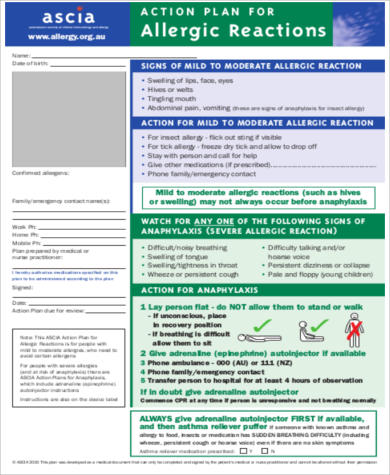 Severe Allergy Action Plan Form for Action Plan In Pdf
