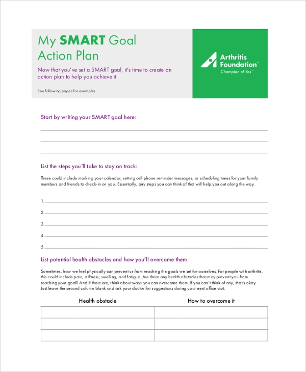 Smart Goal Action Plan for Action Plans