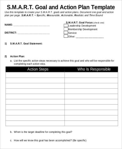 Smart Goal and Action Plan for Sample Smart Action Plan
