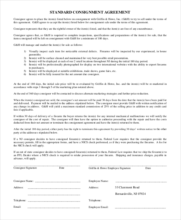 Standard Consignment Agreement for Consignment Agreement Examples And Templates
