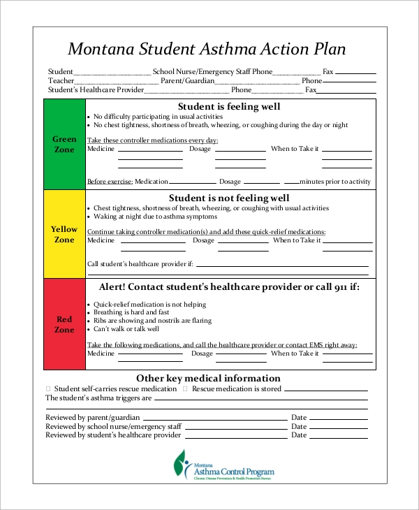 Student Asthma Action Plan for Asthma Action Plan