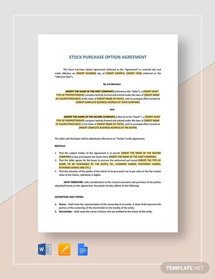 offer to purchase shares agreement for Purchase Agreement For Business