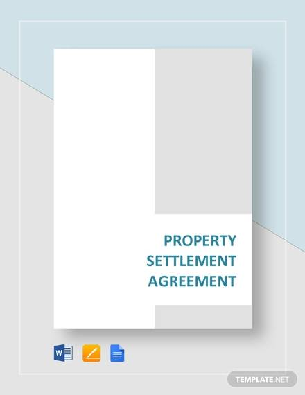 Property Settlement Agreement For Settlement Agreement