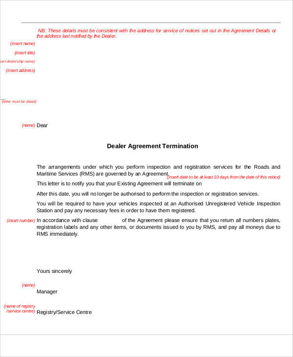 Agreement Termination Letter for Sample Agreements