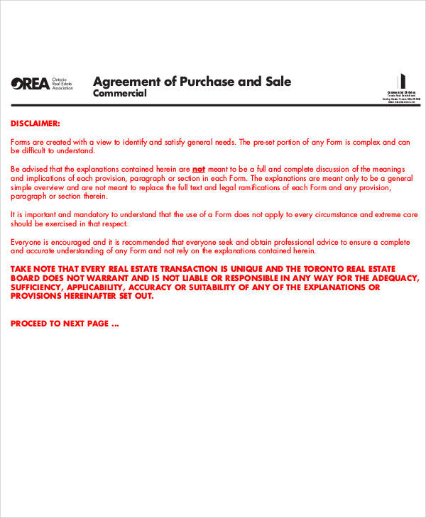 Agreement of Purchase and Sale for Printable Agreement