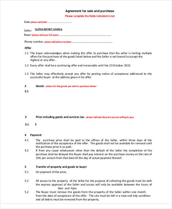 Agreement of Sale Form for Printable Agreement