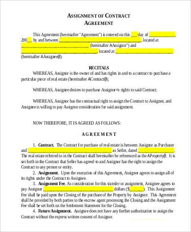 Assignment of Contract Agreement for Agreement In Pdf